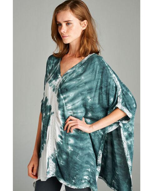 Hyku Women's Olive Tie Dye with Lace Trim Poncho , Olive, hi-res