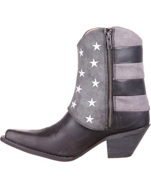 Durango Women's Fold-Over Flag Western Booties, Black, hi-res