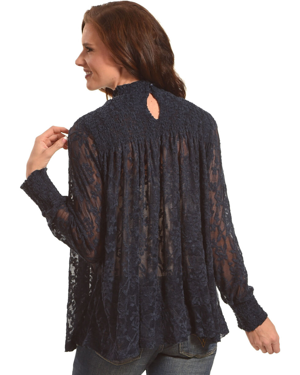 New Direction Sport Women's Black Ruched Lace Top , Navy, hi-res
