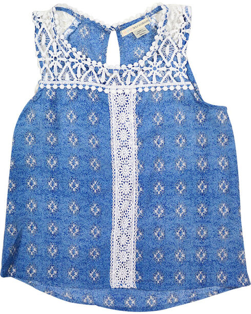 Self Esteem Girls' Southwest Crochet Tank Top , Blue, hi-res