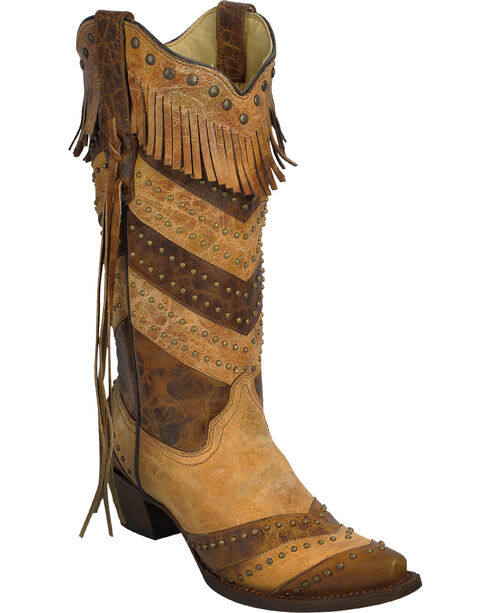 Corral Women's Stripes and Fringe Western Boots, Antique Saddle, hi-res