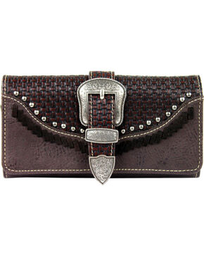 Montana West Trinity Ranch Buckle Wallet with Basket Weave, Dark Brown, hi-res