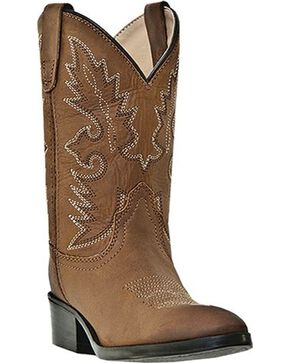 Dan Post Boys' Shane Cowboy Boots - Round Toe, Brown, hi-res