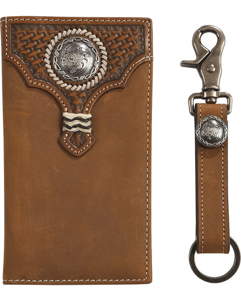 Cody James Embossed Weave Wallet with Key Fob Gift Set, Tan, hi-res