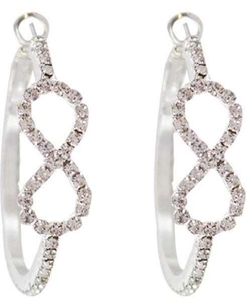 Shyanne® Women's Rhinestone Infinity Hoop Earrings, Silver, hi-res