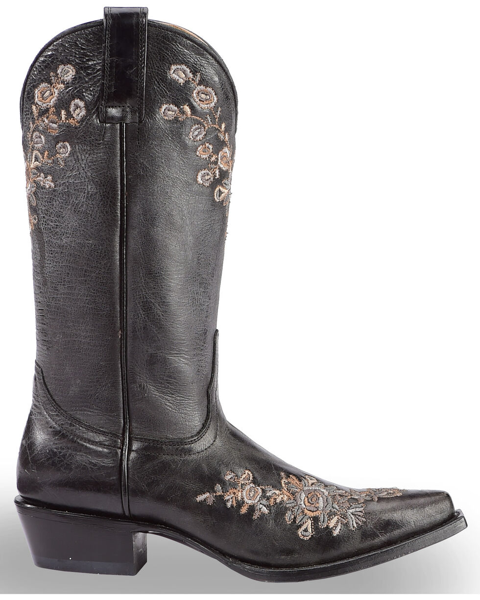 Shyanne Women's Christina Black Floral Western Boots - Snip Toe, , hi-res