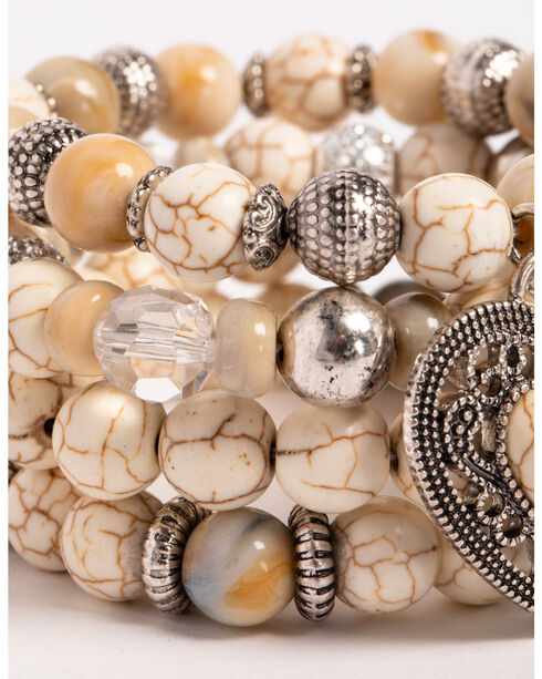 Shyanne® Women's Bone Layered Stretch Bracelet Set, Silver, hi-res