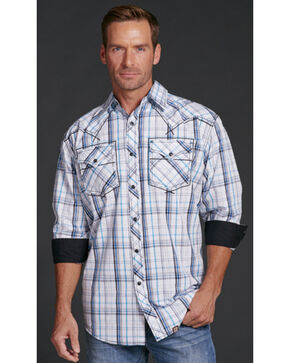 Cowboy Up Men's Blue Plaid Long Sleeve Shirt, Blue, hi-res