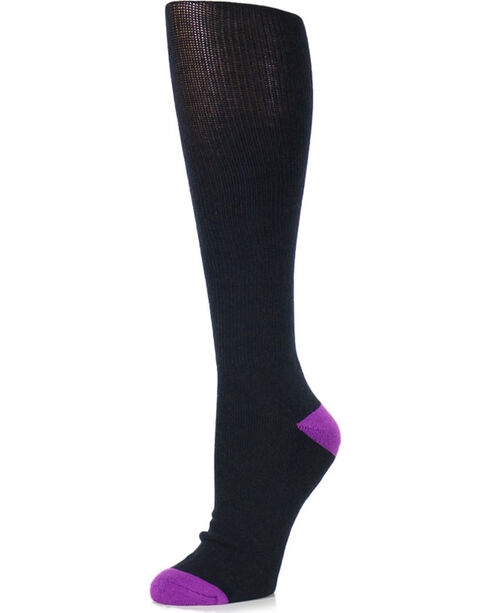 Shyanne® Women's 3 Pair Support Crew Socks, Black, hi-res