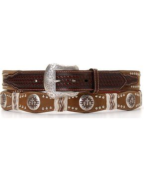Pro Series Scalloped Cross Concho Leather Belt, Brown, hi-res