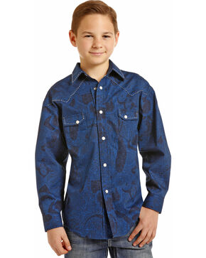 Rock & Roll Cowboy Boys' Poplin Paisley Print Saddle Stitch Snap Shirt, Blue, hi-res
