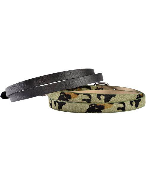 Red Ranch Camo Print Hair-on Hide & Black Skinny Belt Set, Camouflage, hi-res