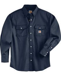 Carhartt Men's Flame Resistant Navy Snap Front Shirt, , hi-res