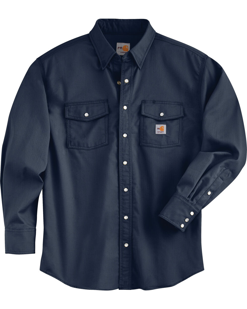 Charhartt Men's Flame-Resistant Snap-Front Shirt, Navy, hi-res