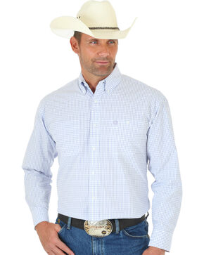 Wrangler Men's George Strait Plaid Button Down Shirt, White, hi-res