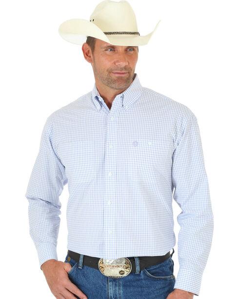 Wrangler Men's George Strait Plaid Button Down Shirt, White, hi-res