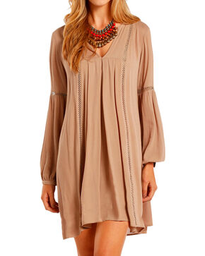 Rock & Roll Cowgirl Women's Long Sleeve Babydoll Dress, Tan, hi-res