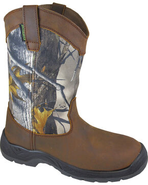 Smoky Mountain Men's Brushfield Camo Wellington Waterproof Work Boots - Round Toe, Brown, hi-res