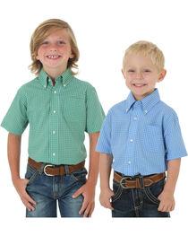 Wrangler Boys' Check Printed Assorted Short Sleeve Shirt, , hi-res