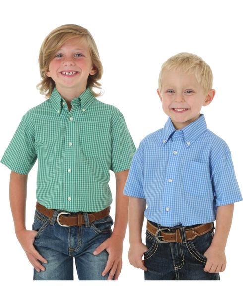 Wrangler Boys' Check Printed Assorted Short Sleeve Shirt, Multi, hi-res