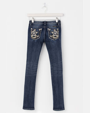 Miss Me Girls' Blue (7-14) Star Pocket Jeans - Boot Cut , Blue, hi-res