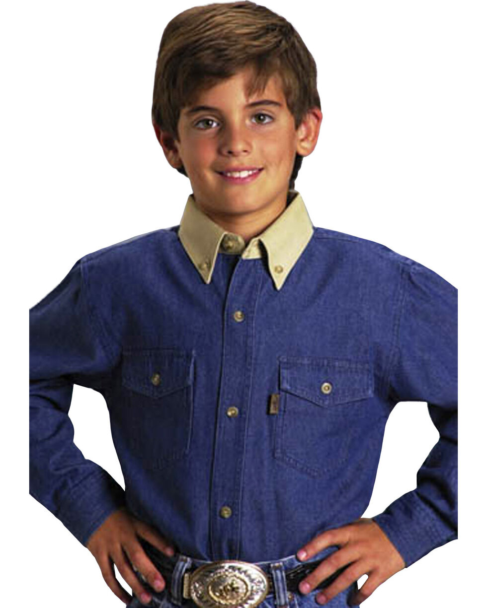 Roper Boys' Denim Twill Long Sleeve Western Shirt, , hi-res