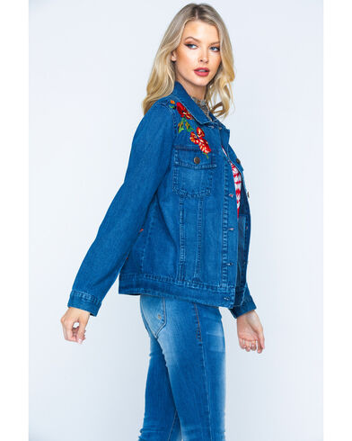 Driftwood Women's Blue Embroidered Denim Jacket , Blue, hi-res