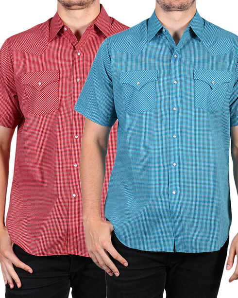 Ely Cattleman Men's Assorted Plaid Snap Short Sleeve Shirt, Multi, hi-res