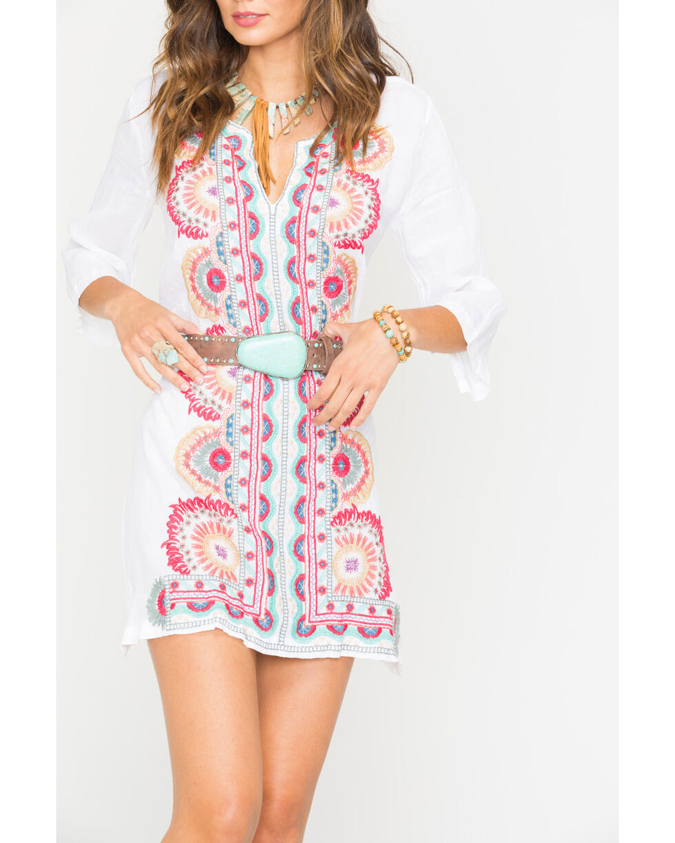 Johnny Was Women's White Murray Short Kaftan Dress, White, hi-res