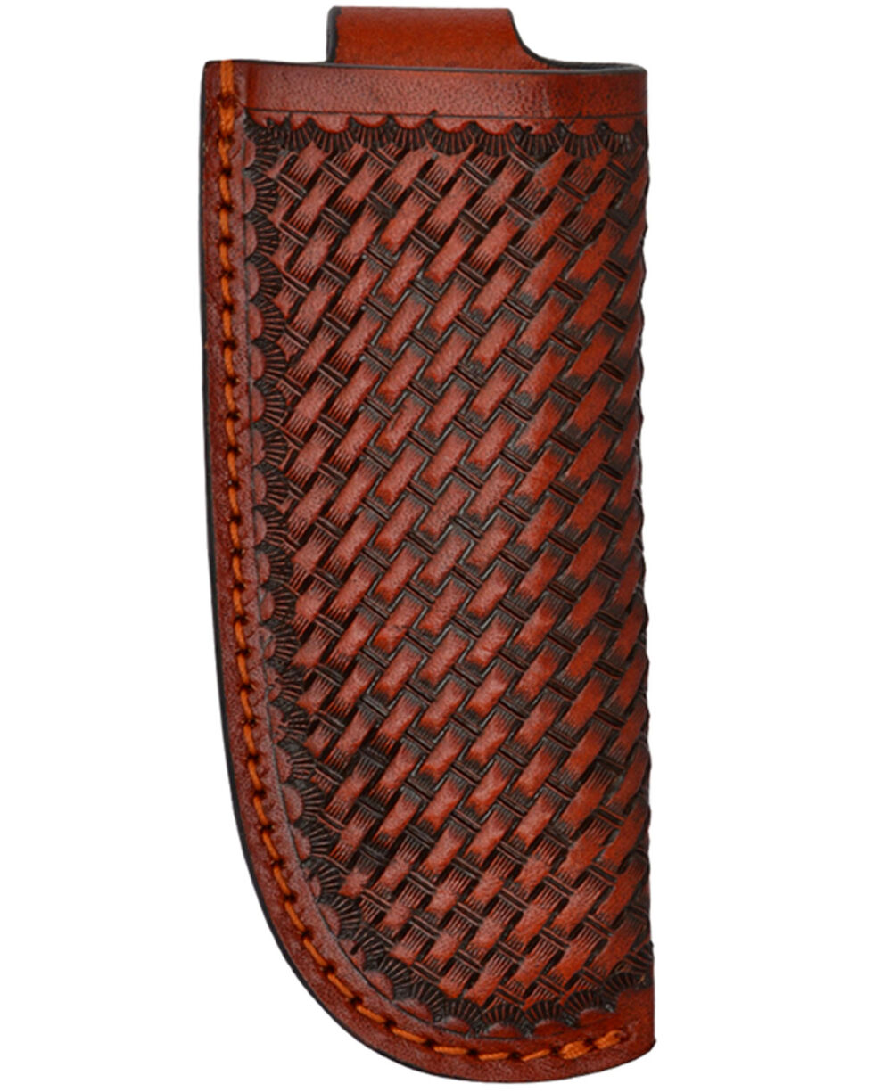 3D Brown Basketweave Leather Large Knife Holder , Brown, hi-res