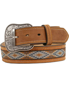 Ariat Ribbon Inlay Diamond Concho Belt, Natural, hi-res
