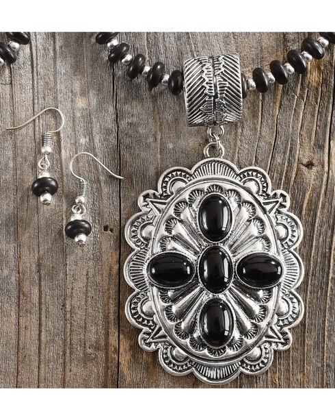 Shyanne Women's Beaded Stone Concho Jewelry Set, Black, hi-res