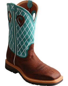 Twisted X Men's Lite Pattern Square Toe Western Work Boots, Brown, hi-res