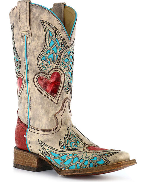 Corral Women's Wing & Heart Square Toe Boots, Sand, hi-res