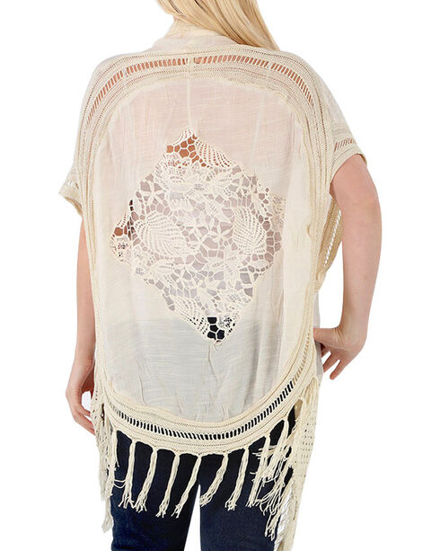 Forgotten Grace Women's Plus Crochet Vest, Natural, hi-res