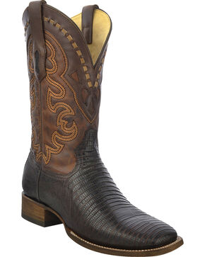 Corral Men's Lizard Square Toe Exotic Boots, Brown, hi-res