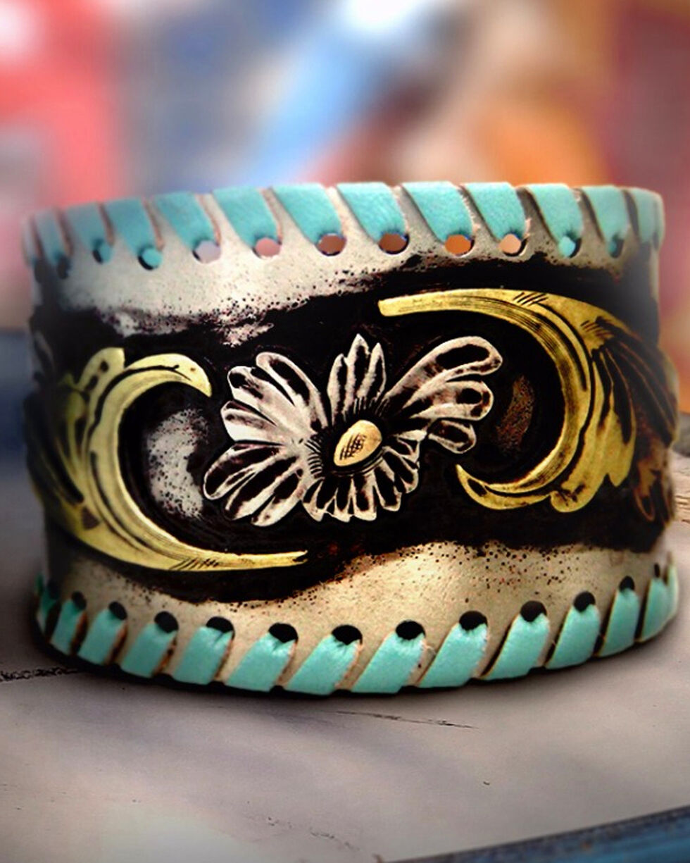 Augus Silversmiths Women's Turquoise Leather Wrap Cuff Bracelet, Turquoise, hi-res
