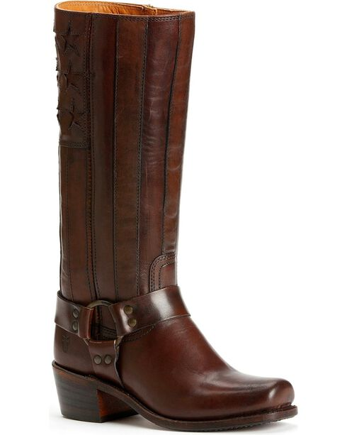 Frye Women's Harness Americana Western Boots, Dark Brown, hi-res