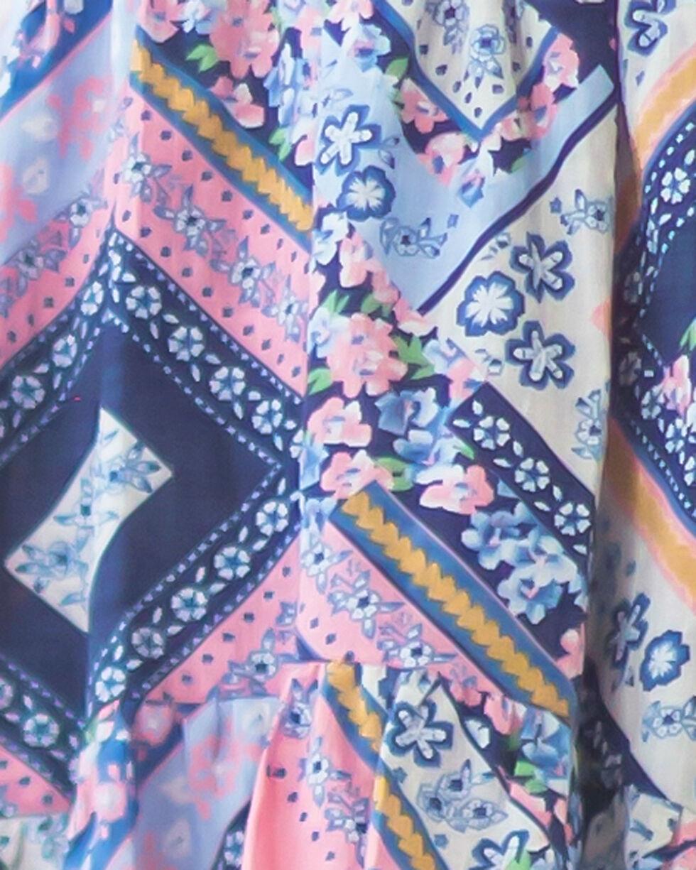 Idol Mind Girls' Bandana Print Ruffle Hi-Lo Top, Pink, hi-res