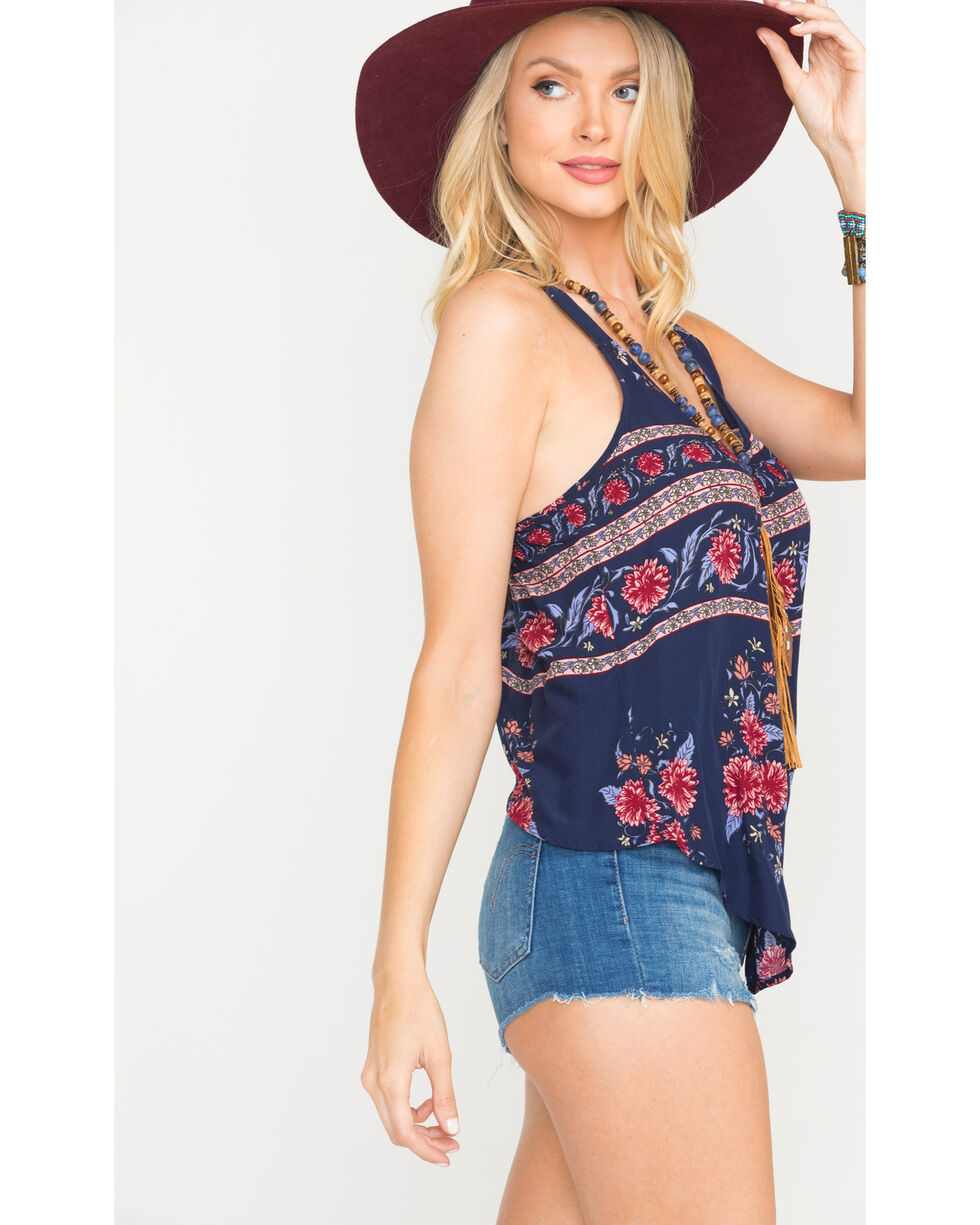 Shyanne Women's Floral Print Split Back Tank Top, Navy, hi-res