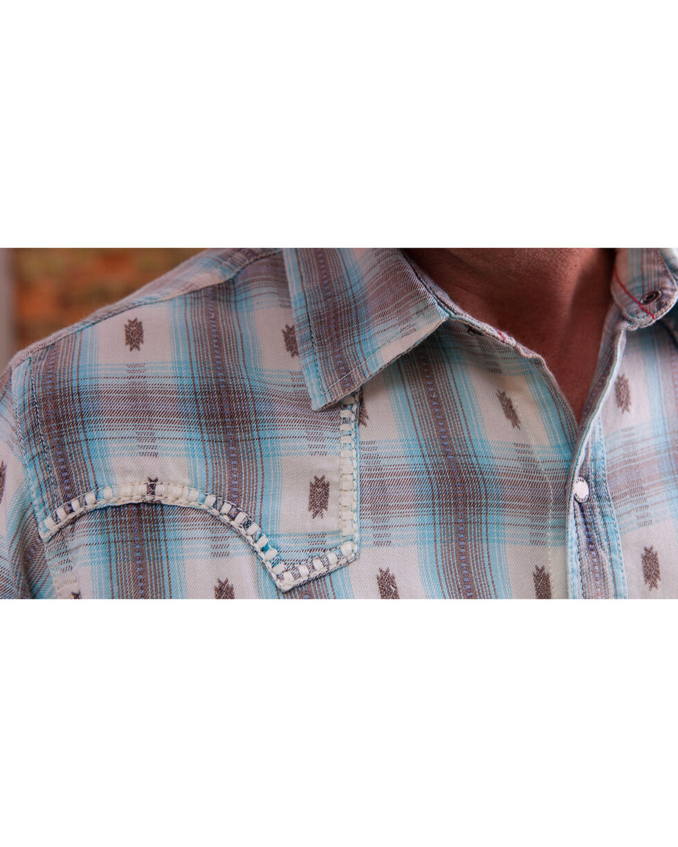 Ryan Michael Men's Blue Ombre Plaid Western Shirt, Med Blue, hi-res