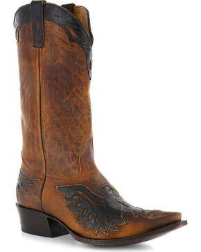 Moonshine Spirit Men's Eagle Overlay Western Boots, Brown, hi-res