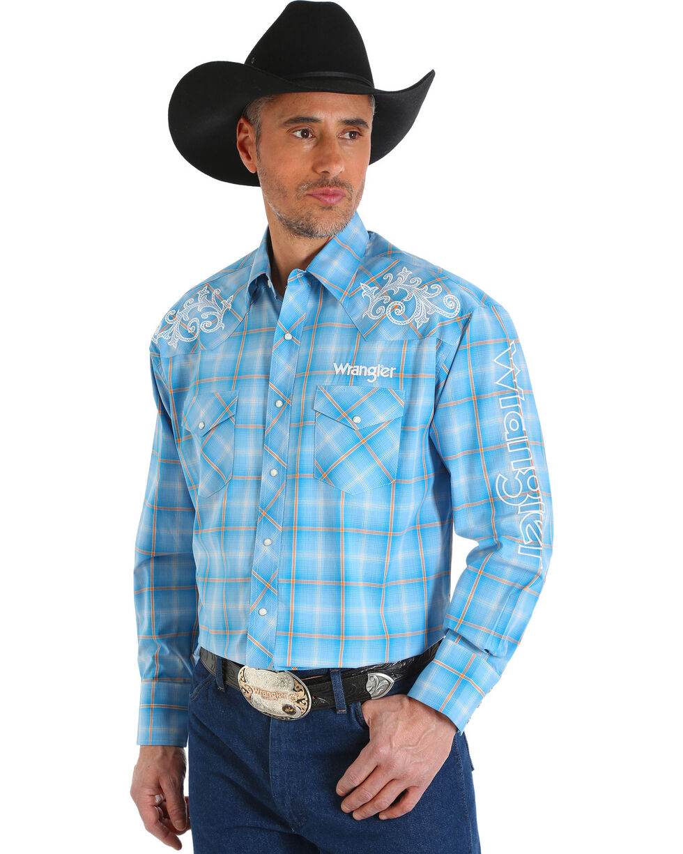 Wrangler Men's Blue Western Logo Long Sleeve Shirt - Big and Tall, Blue, hi-res
