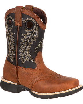 Durango Boys' Saddle Western Boots, Brown, hi-res