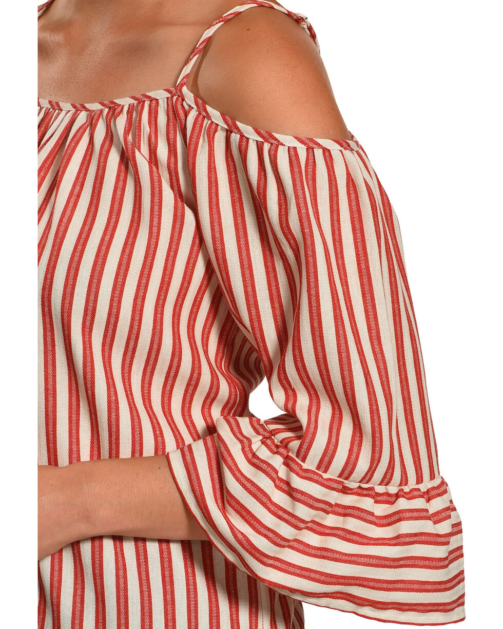Polagram Women's Red Cold Shoulder Stripe Top , Red, hi-res