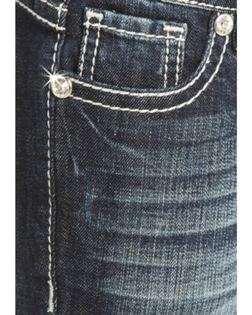 Rock & Roll Cowgirl Girls' Crystal Embellished Jeans - Boot Cut , Indigo, hi-res