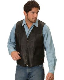 Interstate Leather Men's Motorcycle Leather Vest, , hi-res