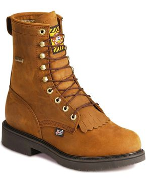 "Justin Men's 8"" Gore Tex Waterproof  Work Boots, Aged Bark, hi-res"