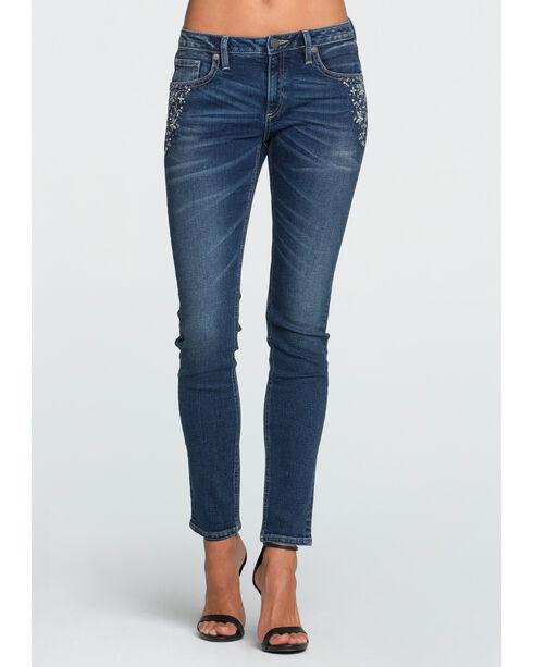 Miss Me Women's All That Sparkles Mid-Rise Skinny Jeans - Plus, Indigo, hi-res