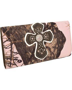 M&F Women's Blazin Roxx Mossy Oak Tri-Fold Wallet, Pink, hi-res